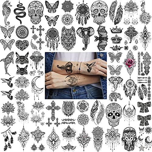 Bilizar 52 Fogli Pizzo Nero Tatuaggi Temporanei Adulti Donna Acchiappasogni Piume Mandala Kit Tatuaggi Finti Bambini Bambina Ciondolo Loto Elefante Adesivi Tatuaggi Temporanei Braccio Mano La Farfalla