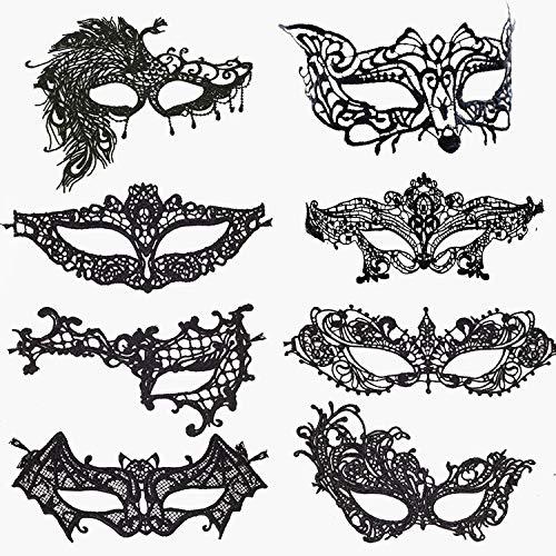 Rmeet Maschere Veneziane,Maschera di Pizzo Donna 8 Pack Maschera per Gli Occhi con Bande Elastiche per Chirismas Halloween Partito Masquerade Ball Nero