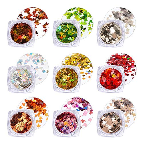FLOFIA 9 Stili Glitter per Unghie Nail Art Set di Polvere Glitter Paillettes per Unghie Decorative Glitterata Unghie Olografico Glitter per Unghie Corpo Cosmetici Foglie Autunnali