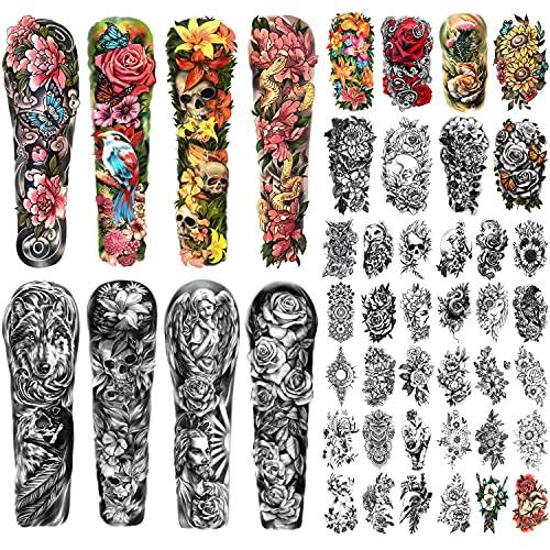 46 Fogli Braccio Completo Tatuaggio Temporaneo per gli Uomini, Cranio Lupo Angelo Floreale Farfalla Metà Braccio Semi Tatuaggio Permanente per le Donne, Falso Tatuaggio che Sembrano Reali