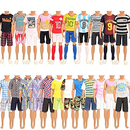 Miunana 5 Abiti Vestiti alla Moda per 12 Pollici Bambola Ragazzo (Slezionati A Caso)