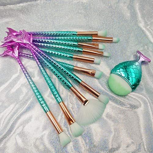 Scorpione 11 set di pennelli da trucco colorato coda di sirena Eye Makeup Brush Set Fish Tail Makeup Tool