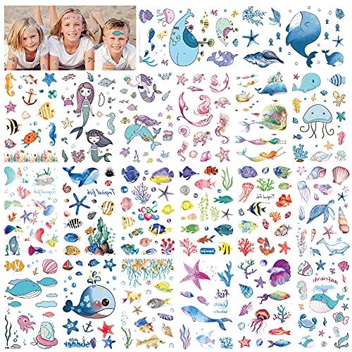 220pcs Tatuaggi Temporanei per Bambini, Sirena / Pesce Tropicale Arte del CorpoTatuaggi Finti Impermeabili Adesivi per Ragazze e Ragazzi Festa di Compleanno Sacchetti Regalo Giocattolo
