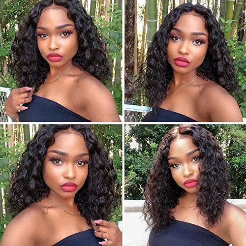 Maxine 8A - Parrucca di capelli ondulati con pizzo frontale, capelli umani brasiliani remy con densità 130%, regolabile, lunghezza 40 cm