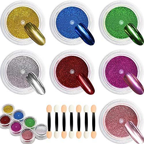Polvere per Unghie Cromata - DRMODE 7 Set di Pigmenti Metallici in Titanio per Unghie, Pigmento per Manicure Effetto Specchio con Applicatore per Nail Art a 7 Pezzi