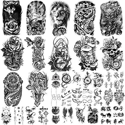 36 fogli di adesivi per tatuaggi temporanei, 12 fogli di tatuaggi falsi sul petto per braccio o spalla di tatuaggi per uomo o donna con 24 fogli di piccoli tatuaggi temporanei neri.