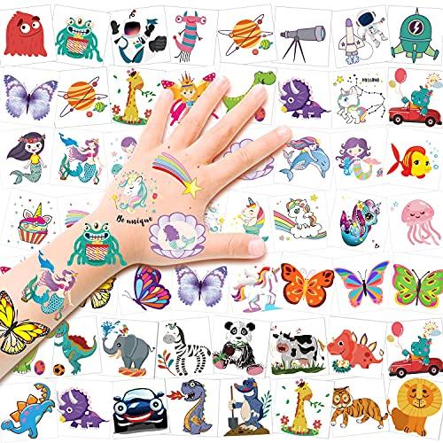 HOWAF Tatuaggi Temporanei per Bambini,96 pezzi Impermeabile Finto Tatuaggio Temporaneo Unicorno, Sirena, Farfalla, Dinosauro, Spazio Auto Tatuaggi Temporanei Finti Impermeabili per Feste di Compleanno