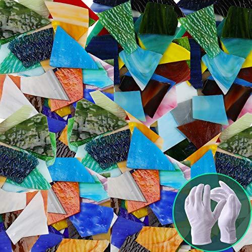 Pocoukate - Piastrelle Mosaico, Tessere Mosaico Vetro in Vetro Rotto per Artigianato, Colori Assortiti e Forme Grandi Kit Mosaico per Adulti - 1KG