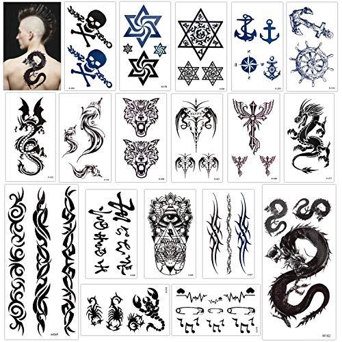 Konsait 18 fogli finti tatuaggi temporanei neri impermeabile Tatuaggio Temporaneo Tattoo Sticker per adulti uomo donna bambini,lupo, Drago, Cranio