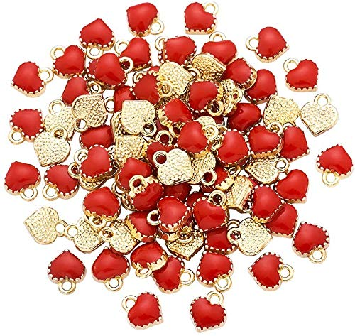Cheriswely, 100 ciondoli a forma di cuore in lega smaltata, placcati oro, in metallo, per realizzare gioielli, bracciali, collane, orecchini, regali di San Valentino, accessori