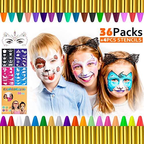 Gifort Trucchi per Truccabimbi, 36 Colori Body Painting Kit con 4 Face Paint Stampini per Bambini, Perfetto per Carnevale, Pasqua, Natale, Halloween