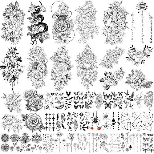 Tatuaggi finti impermeabili di grandi dimensioni da 49 fogli per la raccolta di fiori tatuaggi temporanei impermeabili per donne e ragazze.