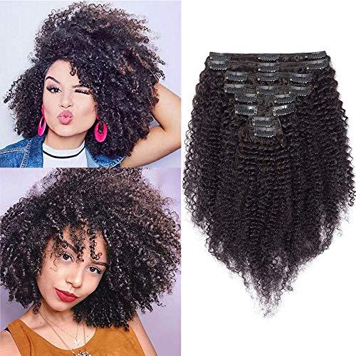 (20-75cm) Extension Capelli Veri Clip 8 Fasce Afro Extensions Capelli Ricci Double Weft 100% Remy Human Hair 20cm-95g #Nero Naturale