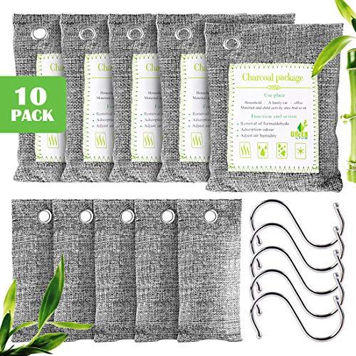 Furuix, 10 sacchetti per purificare l'aria al carbone di bambù, sacchetti per carbone attivo, deodorante per scarpe, eliminatori di odori per la casa (animali domestici), (5 x200g, 5 x75g, 5 ganci)