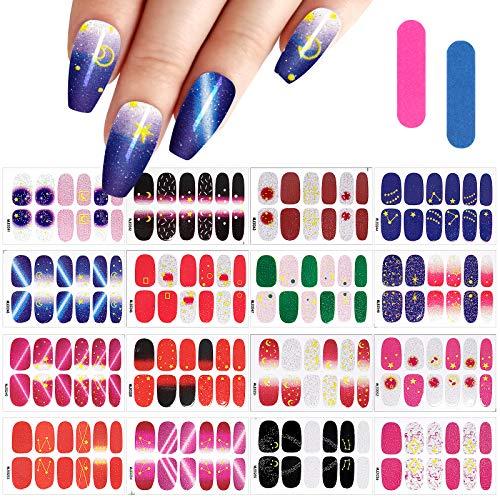 MWOOT 16 Fogli Autoadesivi Del Chiodo, Adesivi Unghie Decalcomanie,Autoadesivo Nail Art Stickers Decals, Smalto per Unghie Manicure le Punte Decorazioni