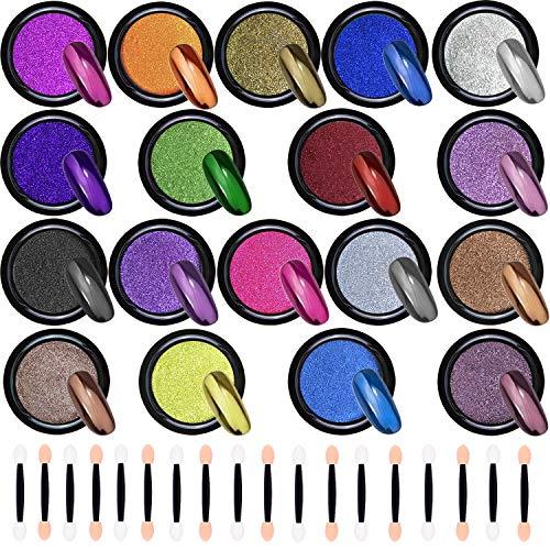 Duufin 18 Scatole Cromata Polvere per Unghie Effetto Specchio Glitter a Specchio Polvere per Unghie Nail Art