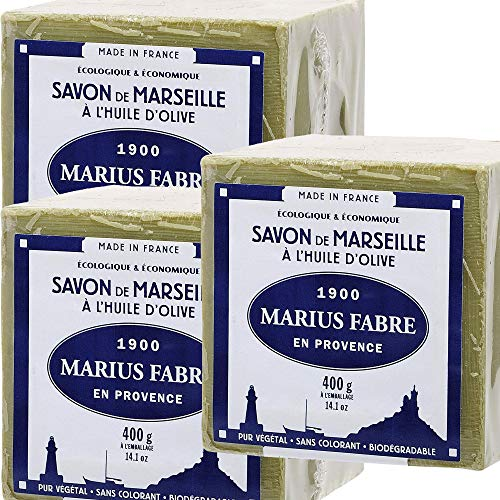 Marius Fabre Sapone di Marsiglia, all'olio d'oliva, cubetto da 400 grammi, lotto di 3 cubetti, peso: 400 grammi