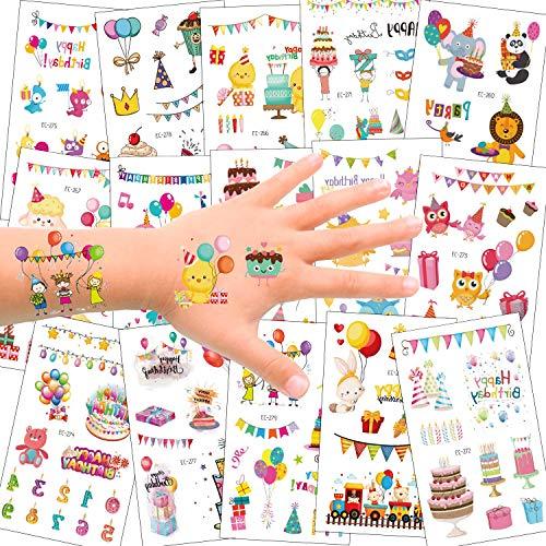 SZSMART Tatuaggi Temporanei per Bambini, 15 Foglio Falso TatuaggioTattoos Adesivi per Bambini Festa di Compleanno Sacchetti Regalo Giocattolo, Animale Dinosauro Torta di Ccompleanno Treno