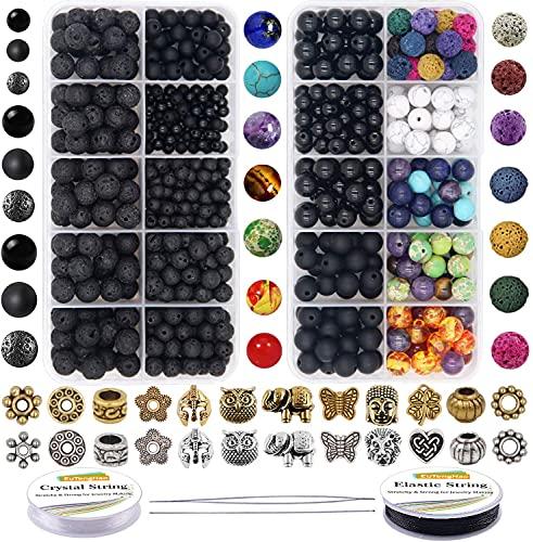YYAOO 810 pezzi di perline di pietra chakra, kit di perline di pietra lavica con 2 corde di cristallo per diffusori oli essenziali, braccialetti yoga, gioielli fai da te