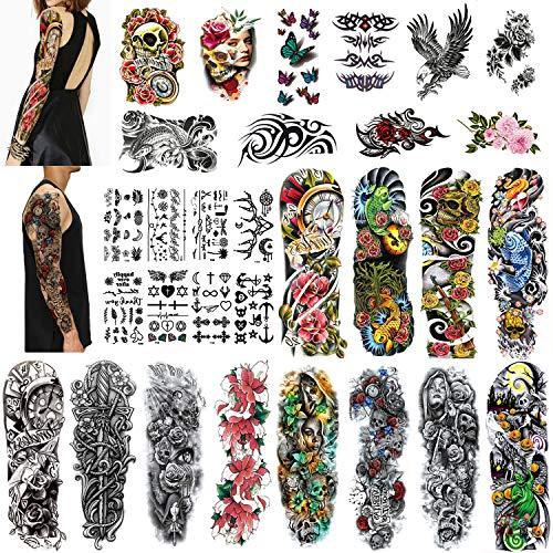 Qpout 30 fogli Tatuaggi temporanei per uomo/donna, 12 tatuaggi impermeabili a braccio completo 10 Tatuaggi a metà braccio 8 Fogli Adesivo per tatuaggio per bambini Teschio Mandala Fiore Tatuaggio