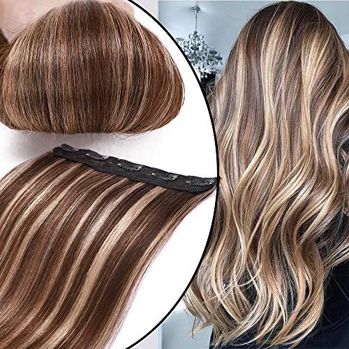 Extension Capelli Veri Clip Fascia Unica Balayage 40cm 45g 4/27 Marrone Cioccolato/Biondo Scuro Remy Human Hair One Piece Donna Bellezza Lisci Naturali