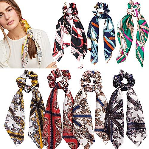 7 pezzi di seta raso sciarpa Scrunchies elastici per capelli fasce per capelli cravatte vintage foulard sciarpe scrunchies coda di cavallo supporto per donne ragazze