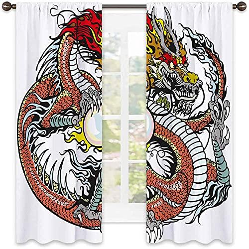 Tenda con isolamento termico, motivo drago, creatura cinese tradizionale che tiene una grande perla segno zodiacale folk tatuaggio, per soggiorno o camera da letto, 172 x 200 cm, multicolore