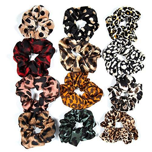 ZWOOS Scrunchies per capelli di Leopardati per Donne e Ragazze, Confezione da 12