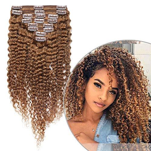 Extension Clip Capelli Veri Ricci Afro 8 Fasce Extensions Volumizzante Double Weft 100% Remy Human Hair Brasiliani con Clips Invisibili 25cm 100g #30 Castano Ramato Chiaro