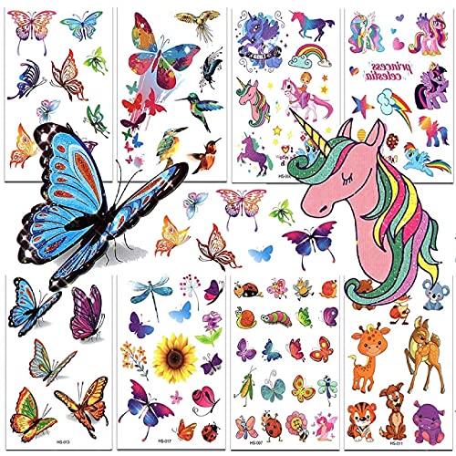 Jatidne Tatuaggi Glitterati per Bambini Farfalla Tatuaggi per Bambini Unicorno Tatuaggi Bambini Tatuaggi Temporanei Bambina Forniture per Feste 8 Fogli