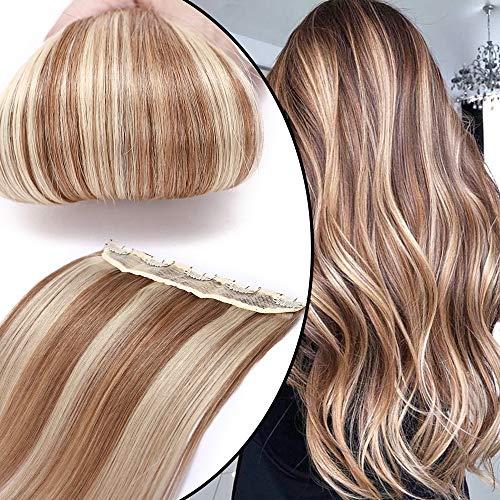 Extension Clip Capelli Veri Fascia Unica Ombre 40cm 45g #12/613 Marrone Chiaro/Biondo Chiarissimo One Piece Remy Human Hair