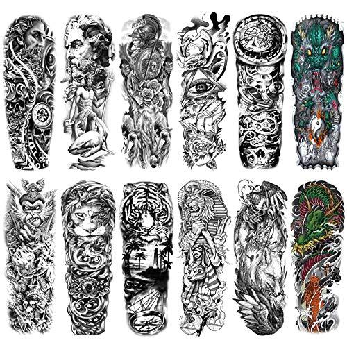 HOWAF Tatuaggi temporanei impermeabili extra grandi tatuaggi finti a braccio completo per uomini e donne Adulti Manicotti del tatuaggio Adesivi Aquila Lupo Leone Occhio di tigre Totem 12 fogli