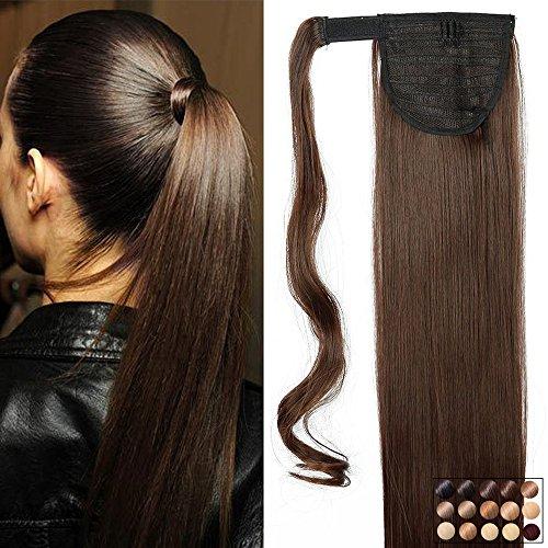 Elailite 23' Coda di Cavallo Clip in Hair Extension Capelli Lisci Parrucchino Ponytail Wrap Around Estensioni 58cm-120g, 4# Marrone Cioccolato