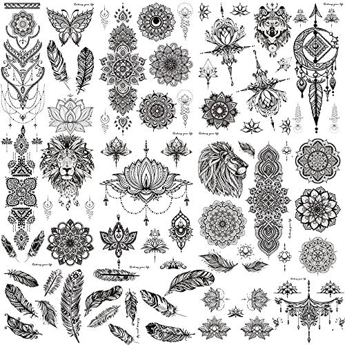 COTTONIX 9 fogli Tatuaggi Temporanei Grandi Tatuaggi Finti Tatoo Temporanei per Attaccare le Donne Mandala Fiore di Piume Farfalla Leone Lupo Matrimonio