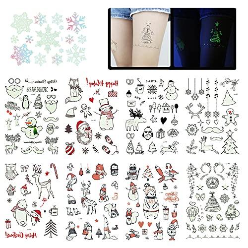 9 Fogli Tatuaggi Temporanei di Natale Fluorescenti Luminose Natale Fiocco di neve Babbo alce Adesivi per Tatuaggi Impermeabili per Regalo di Natale Bomboniere per feste di Compleanno
