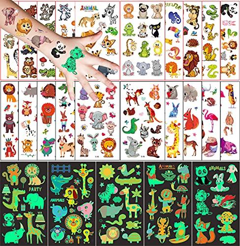 Tatuaggi Temporanei per Bambini, 250 Pezzi Tatuaggio Set de Animale, 20 Fogli Tatuaggio Finti e 5 Fogli Luminous Adesivi Tatuaggi, Ragazzo Ragazza Compleanno Festa Giochi Regalini Giocattoli