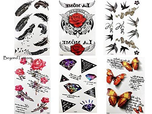 6 fogli di tatuaggi con rose e piume, con uccellini, farfalle, tatuaggi finti.