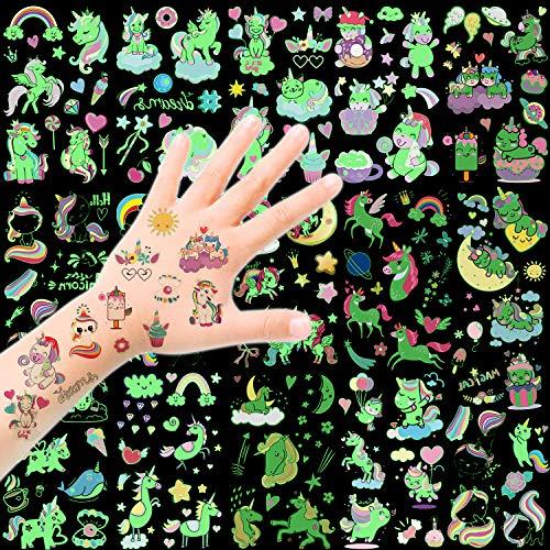 HOWAF Unicorno Tatuaggi Temporanei - Luminosi Tatuaggi Finti Adesivi Giocattoli Gadget per Ragazza, Tatoo Bambini Festa Compleanno Sacchetti Regalo Impermeabile Tatuaggio Temporaneo (14 Fogli)