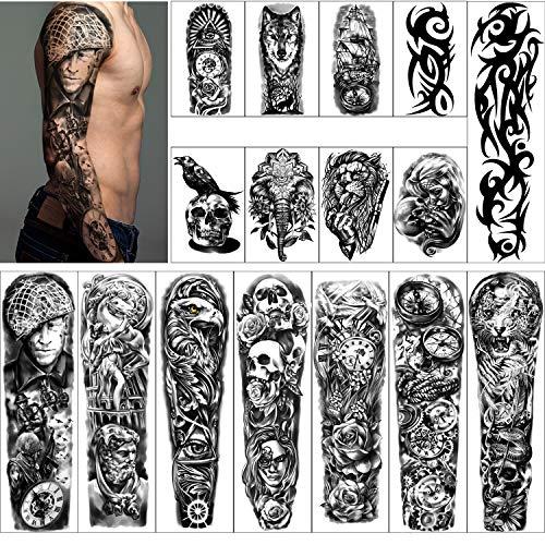 Tatuaggi Temporanei Impermeabili Braccio Completo 8 Fogli e Metà Braccio Tatuaggi Finti 8 fogli, Adesivi per Tatuaggi Extra Large per Uomini e Donne o Adulti (58X18 cm)