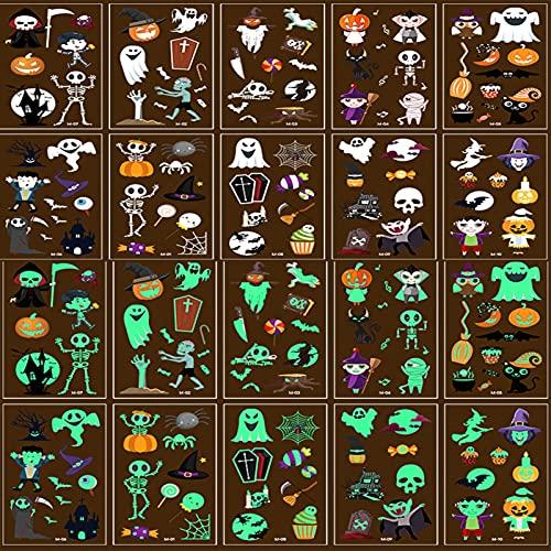 Tatuaggi di Halloween per Bambini, 10 Fogli Tatuaggi Temporanei di Halloween,Tatuaggi temporanei di Halloween bambini,Adesivo Luminoso Impermeabile Decorazioni di Halloween