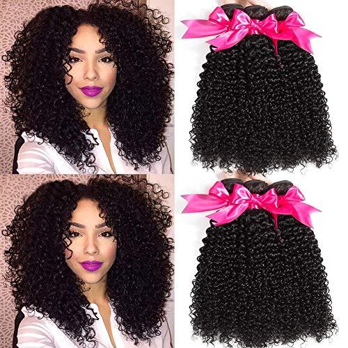 FZY Capelli Umani Ricci Naturale Brasiliano Capelli Veri Ricci Extension Capelli Veri Tessitura Ricci Human Hair 3 Bundles… (12 14 16)