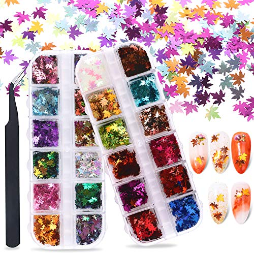 FLOFIA 12 Stili Glitter per Unghie Nail Art Set di Polvere Glitter Paillettes per Unghie Decorative Glitterata Unghie Olografico Glitter per Unghie Corpo Cosmetici Foglie Autunnali