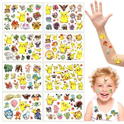 8 Fogli Tatuaggi Temporanei per Bambini, Ragazze Tatuaggio, Pikachu Tatuaggi Bambini, Adesivi Impermeabili e Durevoli, Oggetti di Scena per Feste di Compleanno per Ragazzi e Ragazze Ragazzi Tatuaggio