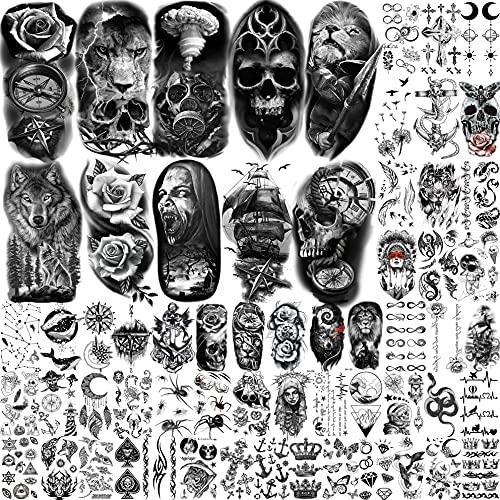 Bilizar 62 Fogli Tatuaggi Temporanei Adulti Uomo Donna Teschio Nero Spaventoso Leone Zombi Rosa Kit Tatuaggi Finti Bambini Maschi 3D Realistico Adesivi Per Tatuaggi Temporanei Braccio Mano Collo Viso