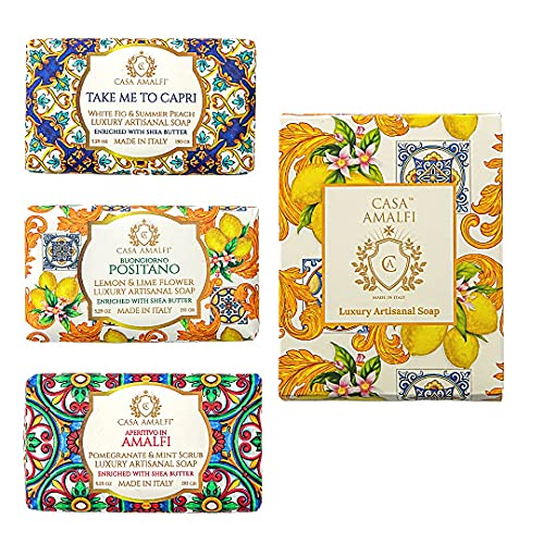 CASA AMALFI - Set di 3 Saponi Solidi, Luxury e Artigianali con Burro di Karitè, Saponi Idratante, 3 Saponette 100% Ingredienti Naturali e Vegani, Plastic free (Kit Donna)