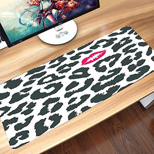 Tappetino Mouse Set 60 x 35 cm,Safari, ghepardo leopardo stampa animalier con rossetto a forma di bacio, Resistente all'Acqua, Base in Gomma Antiscivolo, Bordi Cuciti per Mouse Pad da Gioco ed Ufficio