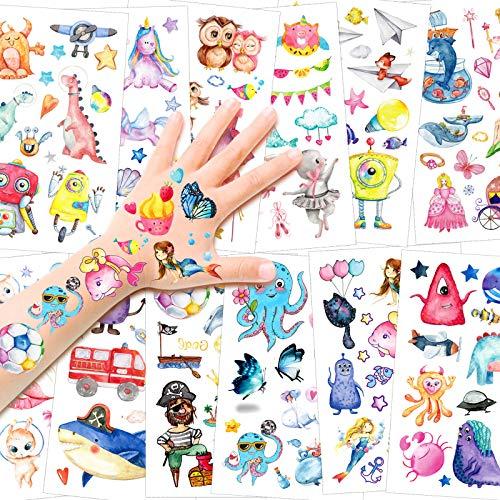 HOWAF Tatuaggi temporanei per Bambini, 150+ Impermeabili Tatuaggi per Bambini in Stile Misto, Animale Fata Sirena Dinosauro Unicorno Tatuaggi Finti Adesivi Tatoo Bambini Regalo Festa Compleanno