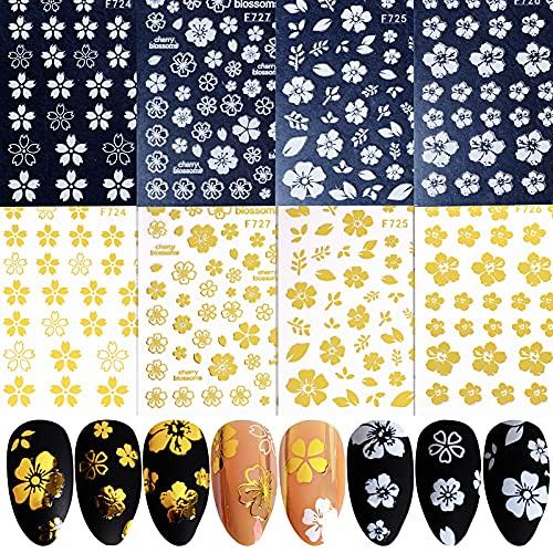 FLOFIA 8 Fogli Adesivi Unghie Nail Stickers Autoadesivi per Unghie Fiori Adesivi Unghie Floreali per Decorazione Nail Art Fai da Te Oro Bianco