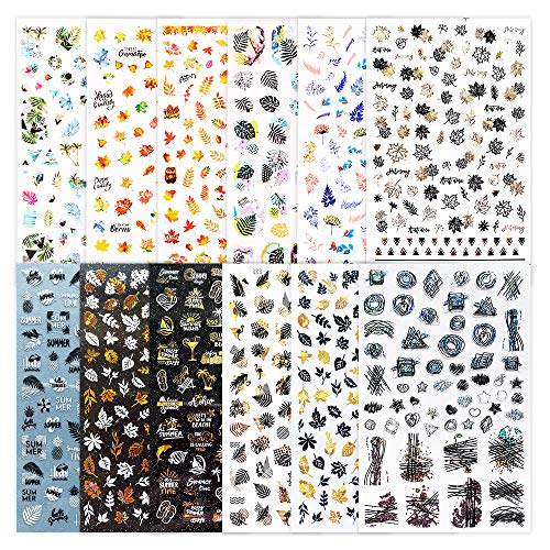 FLOFIA 12 Fogli Adesivi Unghie Autunno Estate Nail Stickers Autoadesivi per Unghie Autunnali Estivi per Decorazione Nail Art Fai da Te