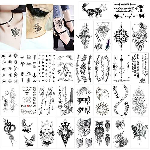 Konsait 30 Fogli Tatuaggi Temporanei Adulti Donne Uomo Bambini, Impermeabili Tatuaggio Temporaneo Nero tatuaggio adesivi, Cranio gufo fiore lupo ecc